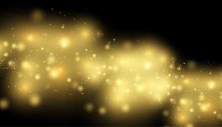 Golden Lights Background. Christmas Lights Concept.  Glowing yellow bokeh circles abstract gold luxury. Texture background abstract black and white or silver, gold Glitter and elegant for Christmas Du
