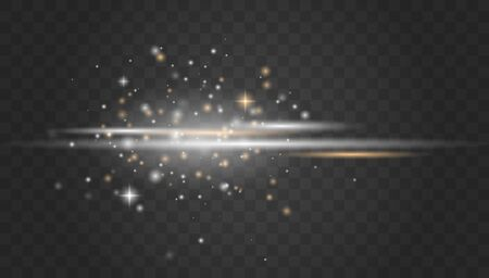 White glowing light explodes on a transparent background.Laser beams, horizontal light rays.Beautiful light flares. Glowing streaks on dark background. Transparent Lens Flare.
