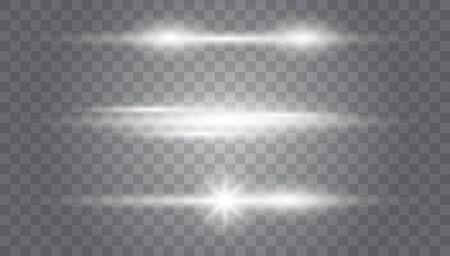 Glowing light explodes on a transparent background.Laser beams, horizontal light rays.Beautiful light flares.Transparent Lens Flare. Futuristic Vibrant Glow for Game Design, Banner, Frame, Button Illusztráció