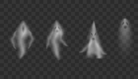 Realistic Ghosts on transparent background.  Scary halloween apparition face, ghostly phantom fly figure or night eerie dead ghoul