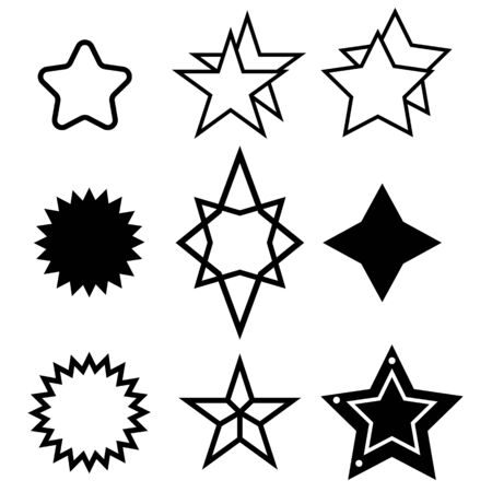 Stars Sparkles sign symbol set. Cute shape collection. Simple pictograms pack. Different stars black silhouettes, christmas sparkle geometric symbols and sheriff star