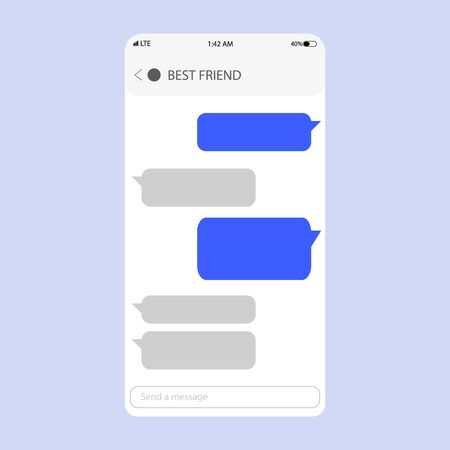 Chat app template whith mobile keyboard. Social network concept. Mobile modern ui kit messenger on the smartphone screen.