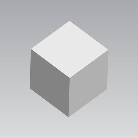 Vector  cube. 3D White Grey Cube, Box. Dummy Box ready for your graphic design. Abstract geometric square shapes vector.  イラスト・ベクター素材