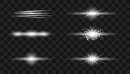Set of flashes, lights and sparks.   Glowing lines. Vector blur in the light of radiance. Element of decor. Horizontal rays of light.