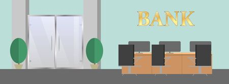 Empty modern wide office interior with large window and cityscape view. Great for financial and credit, banking and consulting theme Banco de Imagens - 131326670