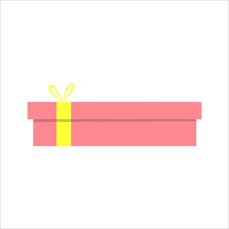 Gift box. Present package with bursting elements, surprise inside.  Colorful wrapped. Sale, shopping concept. Collection for Birthday, Christmas. For Vector Cartoon flat design Çizim