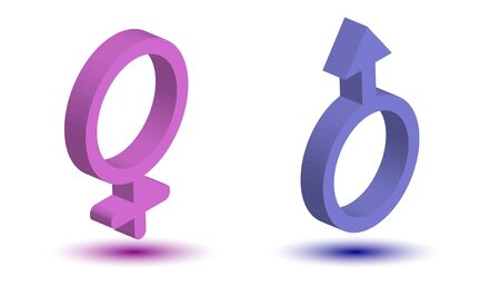 icons of male and female on a white background. Concept of the union, connection. Male and female signs. Isometry.3D. Ilustração