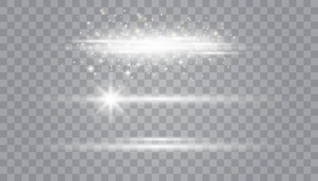 White glowing light explodes on a transparent background.Laser beams, horizontal light rays.Beautiful light flares. Glowing streaks on dark background. Transparent Lens Flare. Futuristic Vibrant Glow for Game Design, Banner, Frame, Button