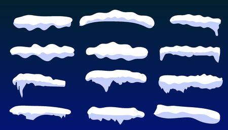 Snow caps, snowballs and snowdrifts set. Snowballs and snow drifts winter decoration snowy elements. Christmas cartoon. decoration element. Snowy elements on winter background Çizim