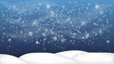Christmas, Snowy Woodland landscape. Holiday winter landscape for Merry Christmas. Winter background with snow. Christmas snow surface.