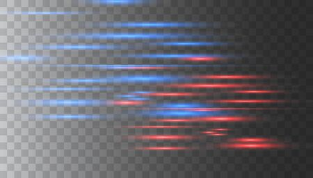 Light and stripes moving fast over dark background. Horizontal lens flares pack. Laser beams, horizontal light rays. Vector light effect. Luminous abstract sparkling lined background.