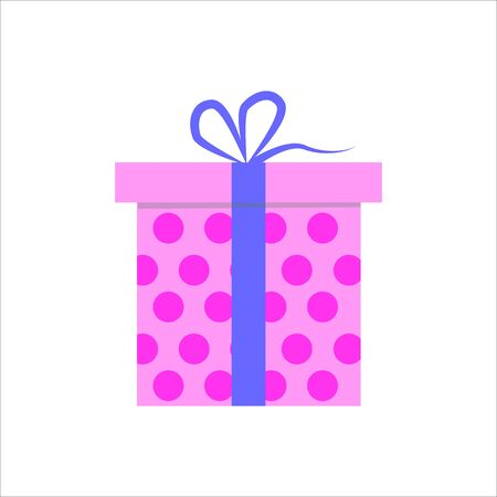 Gift box. Present package with bursting elements, surprise inside.  Colorful wrapped. Sale, shopping concept. Collection for Birthday, Christmas. For Vector Cartoon flat design Ilustração