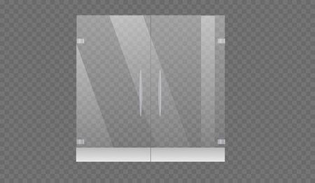 Glass door to the shopping center or office isolated on transparent background. Mock up entrance door for shop or fashion boutique.