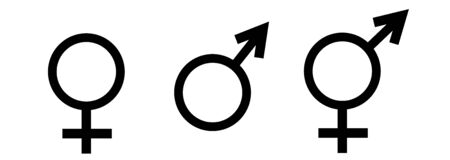 Gender symbol vector.  Male female vector icon illustration Illustration