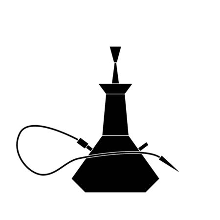Hookah Silhouette Icon Vector Isolated.  Hookah club. Shisha bar. Hookah lounge logo. Hookah pipes. Turkish lifestyle concept. Vector flat design