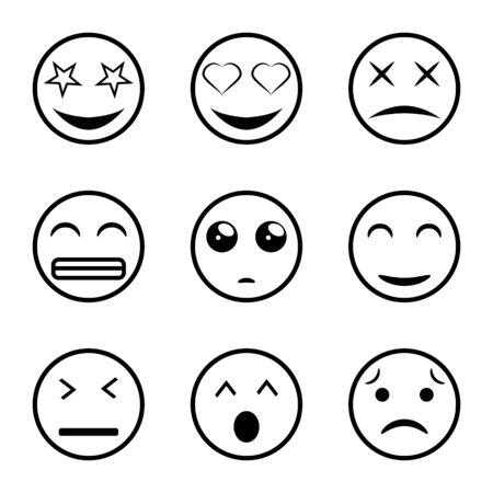 Set of outline emoticons, emoji. Emoji faces emoticon funny smile line black icons expression smiley facial people humor mood