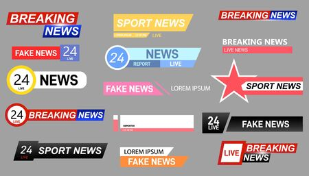 Set of TV news bars. News sign, streaming video. Interface sign. Television channel broadcasting service graphic headpiece banners.