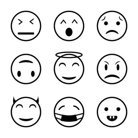Set of outline emoticons, emoji. Emoji faces emoticon funny smile line black icons expression