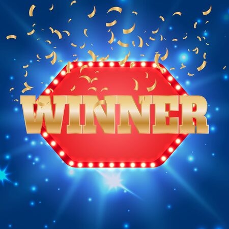 The winner retro banner with glowing lamps and confetti. Win congratulations vintage frame with glowing lamps, golden congratulating framed.  イラスト・ベクター素材