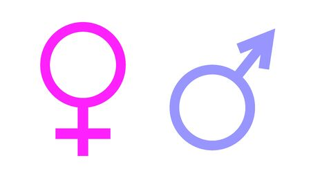 Female and male sex icon  on white background editable Symbols of men and women. Flat design in stylish colors.  イラスト・ベクター素材