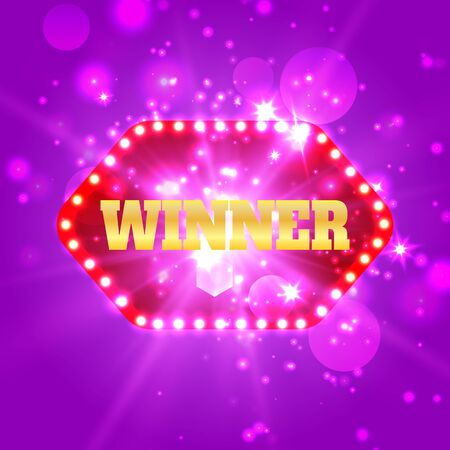 Win congratulations vintage frame with glowing lamps, golden congratulating framed.Winners lottery game jackpot prize logo vector background illustration