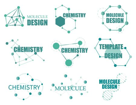 Set of designs with structure molecule.  Biology connecting dna connect diagram, molecules interaction.