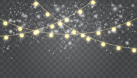Falling white snow with blue winter sky and glowing garland. Merry Christmas and New Year. Holiday winter landscape. Christmas vector background. Glowing lights for Xmas Holiday cards, banners, poster