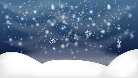 Snowy landscape isolated on dark background.Christmas, Snowy Woodland landscape. Holiday winter landscape for Merry Christmas. Winter background with snow. Christmas snow surface.