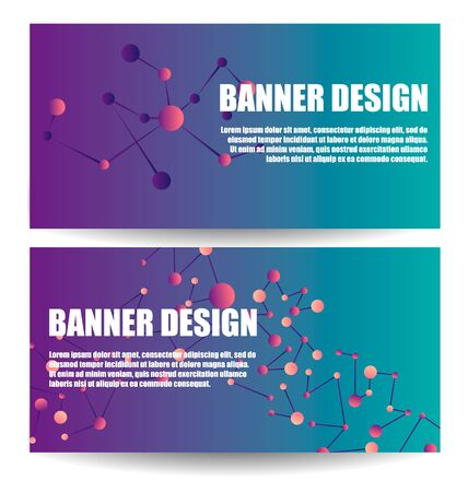 Abstract Molecules banners set with Circles,Lines,Geometric,Polygon.  Science poster design, structure chemistry, connect nuclear atom illustration. DNA molecule in the presentation design