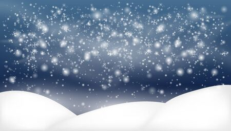 Snowy landscape isolated on dark background.Snowy Woodland landscape. Holiday winter landscape Ilustração Vetorial