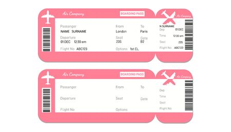 Two airline boarding pass tickets with bar code.for traveling by plane isolated on white.Design with passenger name Vector