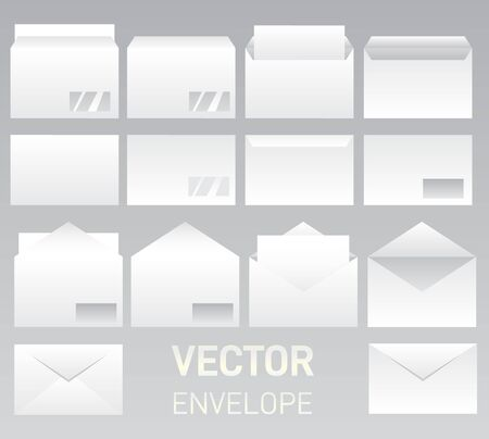 Mockups set of white blank envelopes. DL blank stationery mockup, open closed front and back letter view, corporate business template. Open vertical and horizontal envelope lett  イラスト・ベクター素材