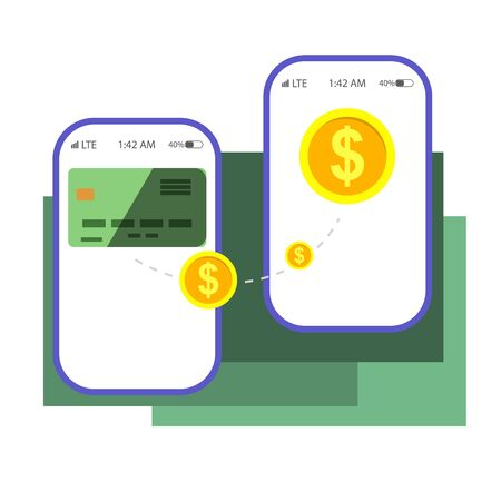 Payment concept isolated vector illustration. Money transaction online concept. Mobile payments using smartphone