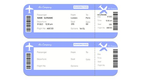 Two airline boarding pass tickets with bar code. Realistic airline ticket design with passenger name Vector