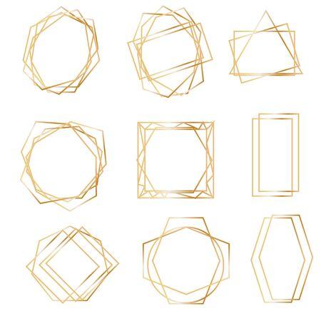Golden geometric frames. Geometrical polyhedron, art deco style for wedding invitation, luxury templates