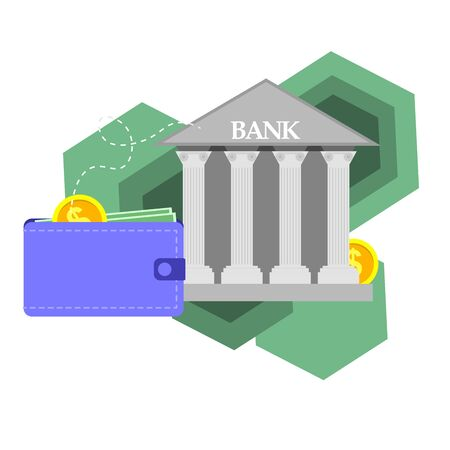 Payment concept isolated vector illustration. Cash transfers on purse with bank.  イラスト・ベクター素材