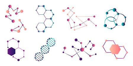Connected molecules. Molecule connection model, chemistry particle and color molecular structure.Molecule of the formula. Set of scientific icons. Atom model and dna chain science  イラスト・ベクター素材