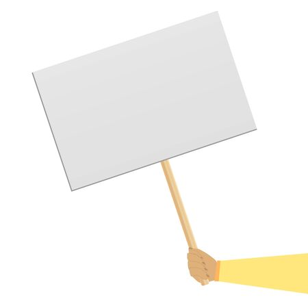 Protester banner. Concept of hand hold  banner. Empty protest sign on wood stick isolated clipart on white background. Protester on strike. Poster empty, protest announcement board.