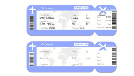 Two airline boarding pass tickets with bar code.for traveling by plane isolated on white. Vector