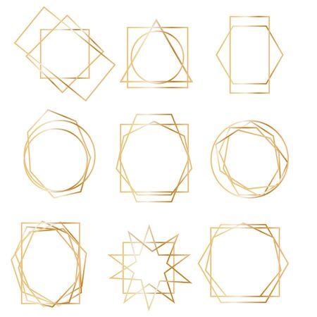 Geometrical polyhedron, art deco style for wedding invitation, luxury templates, decorative patterns. Realistic 3d Detailed Golden Polygonal Frames Thin Line Set for Invitation Decoration. Standard-Bild - 133940941