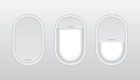 Aircraft windows with curtains in different positions and blank copyspace inside. Three realistic portholes of airplane from plastic with open and closed windows.  Plastic or glass plane windows