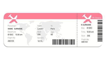 Airline boarding pass ticket   Concept  for travel, business trip or journey.Plane ticket. online Booking airline ticket concept. Vector  イラスト・ベクター素材