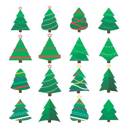 Set of Christmas tree vector icon.  New Years tree with heralds, striped christmas pine. 2020 winter holidays party green fir with garland decoration. Decorated xmas trees.