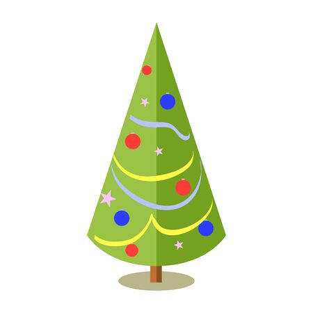 Decorated christmas tree with star, lights, decoration balls and lamps. For the new year holiday garland with lights traditional decor.  colorful cartoon flat style.  イラスト・ベクター素材