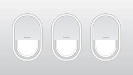 Three realistic portholes of airplane from plastic with open and closed windows.  Plastic or glass plane windows 3d vector. usable for banners, brochures in tourism theme