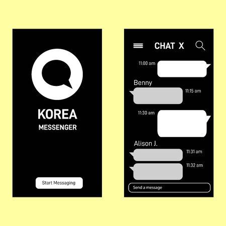 Modern talk messenger template.Kakao talk messenger Korean application for users vector.  Illustration of kakao app interface mobile