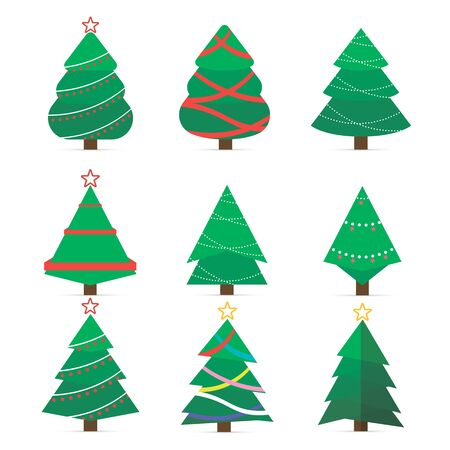 Set of Christmas tree vector icon.  New Years tree with heralds, striped christmas pine. Vector set of cartoon Christmas trees, pines for greeting card, invitation,banner, web. Winter holiday.