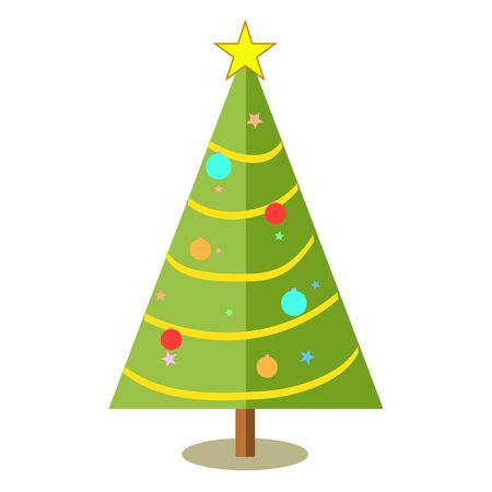 Decorated christmas tree with star, lights, decoration balls and lamps. For the new year holiday garland with lights traditional decor.  colorful cartoon flat style. Merry Christmas