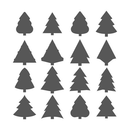 Christmas Trees Set, Black Pictogram. Abstract Christmas Tree Icons. White Silhouette Set. decorated conifer outline and filled vector sign, linear and full pictogram isolated on white