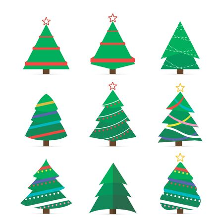 Set of Christmas tree vector icon.  2020 winter holidays party green fir with garland decoration.New year decorations.Cartoon Christmas trees, pines for greeting card, invitation,banner, web.